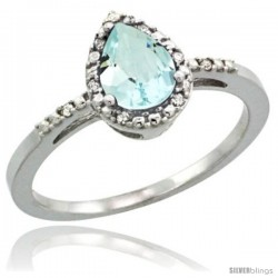 14k White Gold Diamond Aquamarine Ring 0.59 ct Tear Drop 7x5 Stone 3/8 in wide