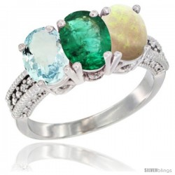 14K White Gold Natural Aquamarine, Emerald & Opal Ring 3-Stone Oval 7x5 mm Diamond Accent