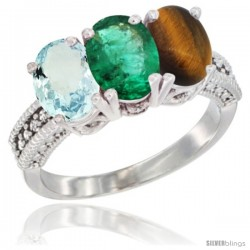 14K White Gold Natural Aquamarine, Emerald & Tiger Eye Ring 3-Stone Oval 7x5 mm Diamond Accent