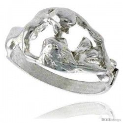 Sterling Silver Couple Making Love Ring Polished finish 7/16 in wide