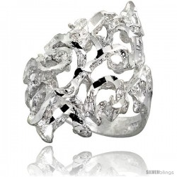 Sterling Silver Freeform Ring Polished finish 1 in wide -Style Ffr627