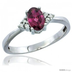 10KWhite Gold Natural Rhodolite Ring Oval 6x4 Stone Diamond Accent