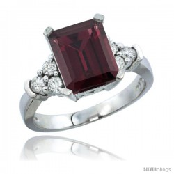 10K White Gold Natural Rhodolite Ring Emerald-shape 9x7 Stone Diamond Accent