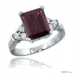 10K White Gold Natural Rhodolite Ring Emerald-shape 9x7 Stone Diamond Accent