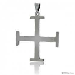 Stainless Steel Teutonic Cross Pendant, 1 1/2 in tall with 30 in chain