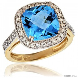 14k Yellow Gold Diamond Halo Swiss Blue Topaz Ring Checkerboard Cushion 9 mm 2.4 ct 1/2 in wide