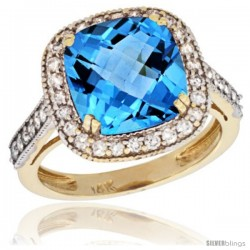 14k Yellow Gold Diamond Halo Swiss Blue Topaz Ring Cushion Shape 10 mm 4.5 ct 1/2 in wide