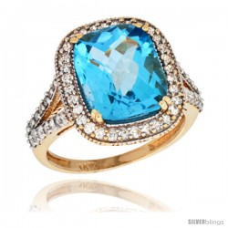 14k Yellow Gold Diamond Halo Swiss Blue Topaz Ring Checkerboard Cushion 12x10 4.8 ct 3/4 in wide