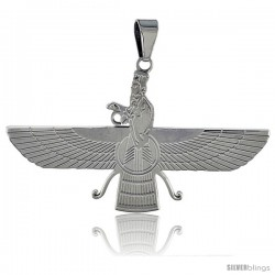 Stainless Steel Zoroastrian FARAVAHAR Pendant 2 in wide, 30 in chain included