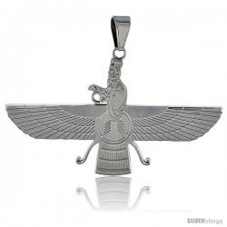 Stainless Steel Zoroastrian FARAVAHAR Pendant 2 in wide, 30 in chain included