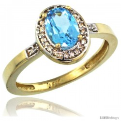 14k Yellow Gold Diamond Swiss Blue Topaz Ring 1 ct 7x5 Stone 1/2 in wide