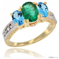 14k Yellow Gold Ladies Oval Natural Emerald 3-Stone Ring with Swiss Blue Topaz Sides Diamond Accent