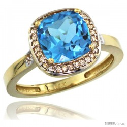 14k Yellow Gold Diamond Swiss Blue Topaz Ring 2.08 ct Checkerboard Cushion 8mm Stone 1/2.08 in wide