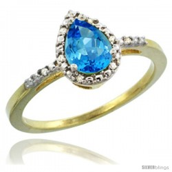 14k Yellow Gold Diamond Swiss Blue Topaz Ring 0.59 ct Tear Drop 7x5 Stone 3/8 in wide