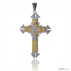 Stainless Steel Cross Pendant CZ Stones 2-tone Gold Finish, 2 1/4 in tall with 30 in chain