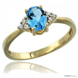 14k Yellow Gold Ladies Natural Swiss Blue Topaz Ring oval 7x5 Stone Diamond Accent