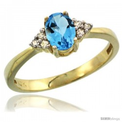 14k Yellow Gold Ladies Natural Swiss Blue Topaz Ring oval 6x4 Stone Diamond Accent