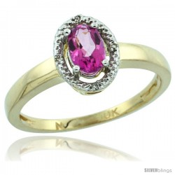 10k Yellow Gold Diamond Halo Pink Topaz Ring 0.75 Carat Oval Shape 6X4 mm, 3/8 in (9mm) wide