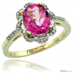 10k Yellow Gold Diamond Halo Pink Topaz Ring 1.65 Carat Oval Shape 9X7 mm, 7/16 in (11mm) wide