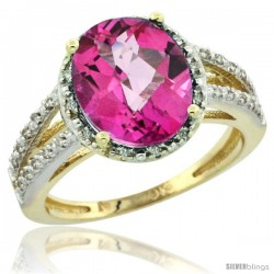 10k Yellow Gold Diamond Halo Pink Topaz Ring 2.85 Carat Oval Shape 11X9 mm, 7/16 in (11mm) wide
