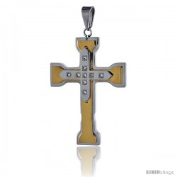 Stainless Steel Capital Cross Pendant CZ Stones 2-tone Gold Finish, 2 in tall with 30 in chain