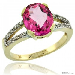 10k Yellow Gold and Diamond Halo Pink Topaz Ring 2.4 carat Oval shape 10X8 mm, 3/8 in (10mm) wide
