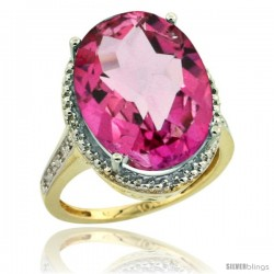 10k Yellow Gold Diamond Pink Topaz Ring 13.56 Carat Oval Shape 18x13 mm, 3/4 in (20mm) wide