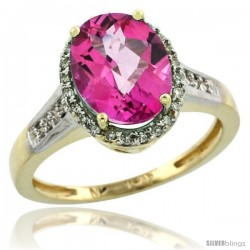 10k Yellow Gold Diamond Pink Topaz Ring 2.4 ct Oval Stone 10x8 mm, 1/2 in wide