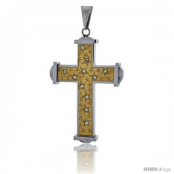 Stainless Steel Cross Pendant CZ Stones Srtars 2-tone Gold Finish, 2 in tall with 30 in chain