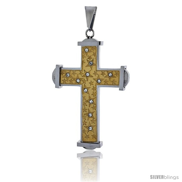 https://www.silverblings.com/2671-thickbox_default/stainless-steel-cross-pendant-cz-stones-srtars-2-tone-gold-finish-2-in-tall-30-in-chain.jpg