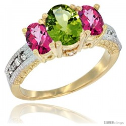10K Yellow Gold Ladies Oval Natural Peridot 3-Stone Ring with Pink Topaz Sides Diamond Accent