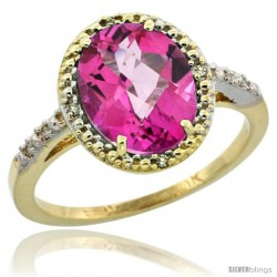 10k Yellow Gold Diamond Pink Topaz Ring 2.4 ct Oval Stone 10x8 mm, 1/2 in wide -Style Cy906111