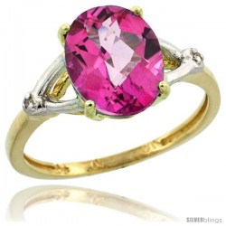 10k Yellow Gold Diamond Pink Topaz Ring 2.4 ct Oval Stone 10x8 mm, 3/8 in wide
