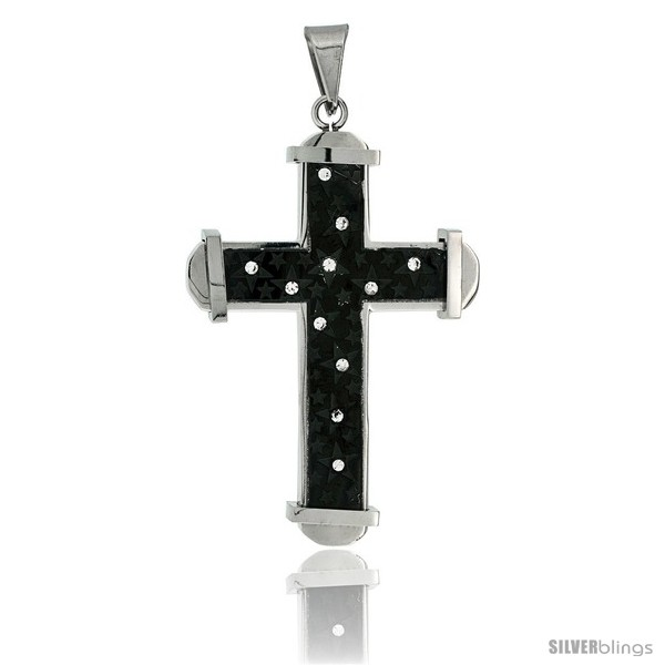 https://www.silverblings.com/2673-thickbox_default/stainless-steel-cross-pendant-stars-cz-stones-2-tone-black-finish-2-in-tall-30-in-chain.jpg