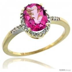10k Yellow Gold Diamond Pink Topaz Ring 1.17 ct Oval Stone 8x6 mm, 3/8 in wide