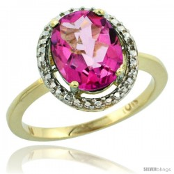 10k Yellow Gold Diamond Pink Topaz Ring 2.4 ct Oval Stone 10x8 mm, 1/2 in wide -Style Cy906114