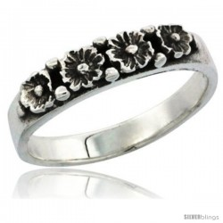 Sterling Silver Flower Wedding Band Ring, 1/8 in wide