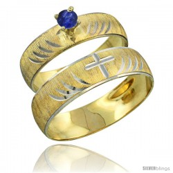 10k Gold 2-Piece 0.25 Carat Deep Blue Sapphire Ring Set (Engagement Ring & Man's Wedding Band) Diamond-cut -Style 10y503em