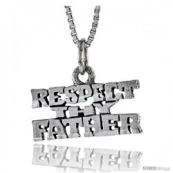 Sterling Silver RESPECT THY FATHER Word Necklace, w/ 18 in Box Chain