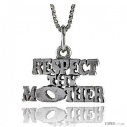 Sterling Silver RESPECT THY MOTHER Word Necklace, w/ 18 in Box Chain