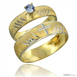 10k Gold 2-Piece 0.25 Carat Light Blue Sapphire Ring Set (Engagement Ring & Man's Wedding Band) Diamond-cut -Style 10y503em