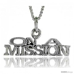 Sterling Silver ON A MISSION Word Necklace, w/ 18 in Box Chain