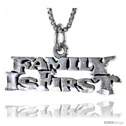 Sterling Silver FAMILY IS FIRST Word Necklace, w/ 18 in Box Chain