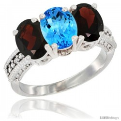 14K White Gold Natural Swiss Blue Topaz & Garnet Sides Ring 3-Stone 7x5 mm Oval Diamond Accent