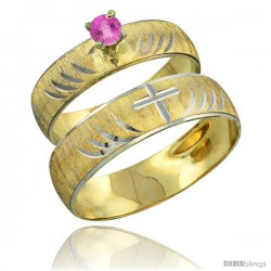 10k Gold 2-Piece 0.25 Carat Pink Sapphire Ring Set (Engagement Ring & Man's Wedding Band) Diamond-cut Pattern -Style 10y503em