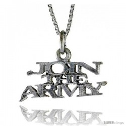 Sterling Silver JOIN THE ARMY Word Necklace, w/ 18 in Box Chain