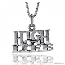 Sterling Silver HIGH ON LIFE Word Necklace, w/ 18 in Box Chain