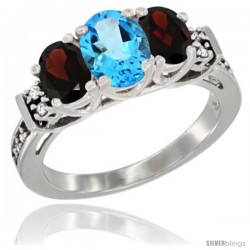 14K White Gold Natural Swiss Blue Topaz & Garnet Ring 3-Stone Oval with Diamond Accent