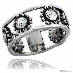 Sterling Silver Sunflower Link Ring Band, 11/32 in. (8.5 mm) wide