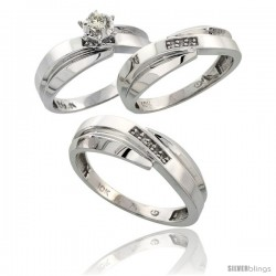 10k White Gold Diamond Trio Wedding Ring Set His 7mm & Hers 6mm